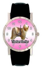 Tibetan Terrier Puppy Dog Mens Ladies Genuine Leather Quartz Wrist Watch SA1118
