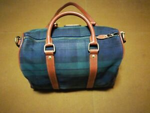 Authentic POLO Ralph Lauren Vintage Green Check Leather Travel Boston Bag Used