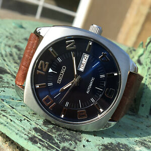 Seiko Recraft Series Automatic Retro Style Blue Dial Wrist Watch Strap 44mm