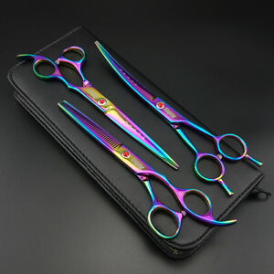 "7""Professional PET DOG Grooming scissors Cutting&Curved&Thinning shears k349"