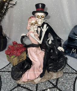 Glitter Sparkle Love Never Dies Skeleton Bride Groom Couple Halloween Decor NWT