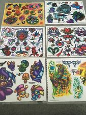 """90's Vintage Lot of 18 Sheets Tattoo Johnny Flash Art 11"""" X 14"""" Dragons Wizards"""