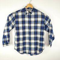 Columbia Mens Size Medium Blue White Green Plaid Print Button Shirt