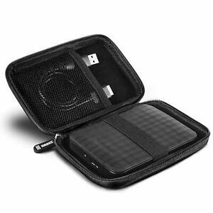 "Black Portable External Hard Drive Carry Case Protective HDD SSD for 2.5"", 3.5"""