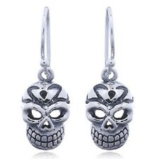 Silver Earrings Hook 925 Sterling Gothic Heart Nose Skull Design Jewellery