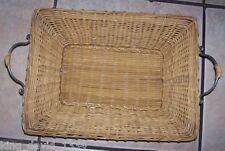 WICKER Basket TRAY Metal Serving PLATTER CONTAINER 19 in New
