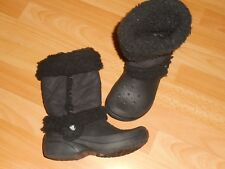Crocs botte plastique et daim fourré winter boots size 3/5 noir pointure 35