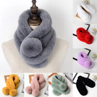 Winter Women Thicken Faux Fur Scarf Neck Warm Fluffy Wrap Collar Stole Shawls