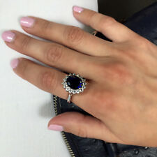 Natural 3.48Ct Blue Sapphire Gemstone Rings White Gold Finish Silver Size M N O