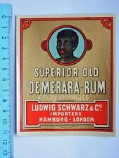 Vecchia etichetta old label vino wine Demerara RUM Ludwig Schwartz Hamburg *