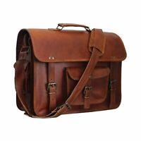 Men's Real Retro Vintage Leather Messenger Business Laptop Briefcase Satchel Bag
