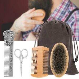 Mustache Facial Beard Hair Shave Brush Scissor Shear Set Styling Comb Supply A+