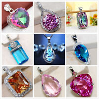 Womens Pendant 925 Sterling Silver Crystal Heart Wedding Jewelry Gift Bridal Hot
