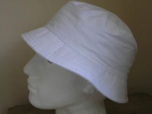 White Cotton Bucket Sun Hat Mens or Ladies  M L XL  New