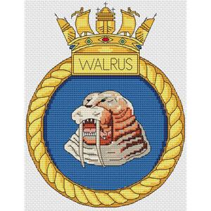 HMS Walrus Ship Crest Cross Stitch Design (kit or chart)
