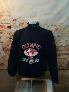 Roots USA Unisex small 2002 Olympic Team Retro Blue 1/3 Zip Sweater deadstock