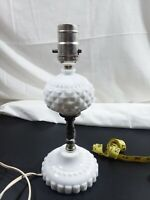 Vintage white Milk Glass Lamp Fenton? Electric Hobnail/diamond point works
