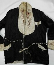 Vintage Japanese Silk Smoking Jacket 1940's 1950's Embroidered Dragons Blk/White