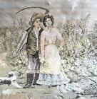 """TURN OF THE CENTURY BELGIAN TAPESTRY PEASANT COUPLE WITH DOG 46x46"""" VERY LOVELY"""