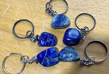 Lapis Lazuli Tumbled Crystal Keychain - Natural Polished Blue Gemstone Key Ring