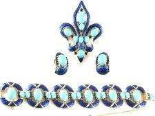TRIFARI Enamel Cabochon Rhinestone L'Orient Bracelet, Fleur de Lis Pin, Earrings