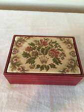 Vintage Rolex Red Leather Watch Box With Rolex Symbol/Flower Embroidered Top