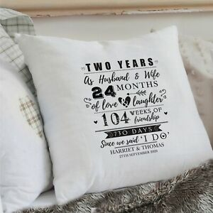 Personalised 2nd Wedding Anniversary Cushion Cover Gift Mr Mrs Husband Wife