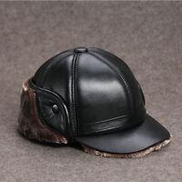 Men Full Grain Sheepskin Leather Hat Winter Warm Cowhide Baseball Cap Winter Hat