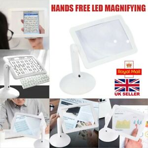 LED Magnifying Glass With Light Lamp Foldable Clamp Magnifier Hands Free UK