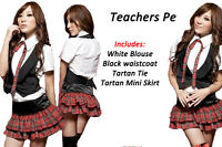 Sexy Ladies School Girl Uniform Tartan Skirt fancy dress costume Christmas