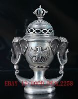 Chinese Silve Copper Hand Carved Elephant Incense Burner  W QianLong Mark BT033
