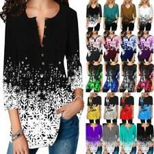 Women's 3/4 Sleeve Floral Print Tops Boho Tunic Casual T-Shirt Blouse Plus Size