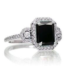 2.90Ct Designer Black  Certified Emerald Cut Diamond 14K White Gold