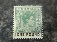 BAHAMAS POSTAGE STAMP SG157A ONE POUND GREEN LIGHTLY MOUNTED-MINT