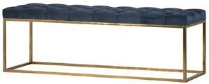 "55"" Benigna Bench Iron Brass Finish Base Blue Velvet Button Tufted Cushion"