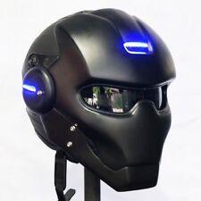 Black Deadpool Motorcycle Helmet DOT Blue LED Light Size L 59-60 cm.Thailand