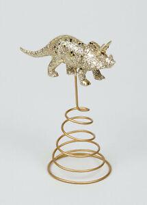New Gorgeous Gold Glitter Dinosaur Shaped Tree Topper Christmas Décor 19cm