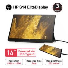 HP EliteDisplay S14 14 inch Full HD IPS Portable Monitor - Black