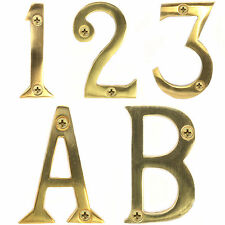 """SOLID BRASS 50mm/2"""" DOOR NUMBERS WITH SCREWS Hotel/B&B/Room/House/Traditional"""
