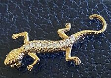 Jeweled Gold Lizard Reptile Pin Brooch With 9 Rhinestone Crystals Ladies Pinback