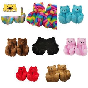 Plush Teddy Bear Slippers Brown Women Indoor Home House Soft Anti-slip Faux Fur