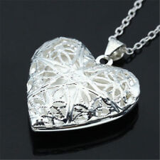 Women Living Memory Float Silver Plated Heart Locket Pendant Charm Necklace Gift