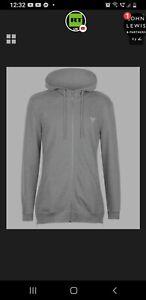 Soviet Long Full Zip Hoodie Grey Mens Size UK L