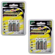 Confezione da 2X of4 Ultramax AAA HR03 R03 350 mAh pre-carica batteria ricaricabile NiMH