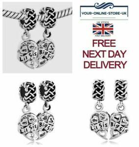 Pandora I Love You Heart Bracelet Bead Charm Lil Big Sis Sister Sisters Gift UK
