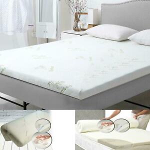 """Luxury Bamboo Memory Foam Bed Mattress Topper SuperSoft Thick 1"""" 1.60"""" All Sizes"""