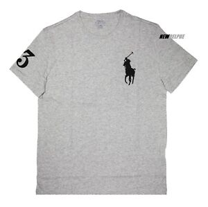 Polo Ralph Lauren Men Classic Fit Big Pony Crew Neck T-Shirt Tee with #3 Patch.