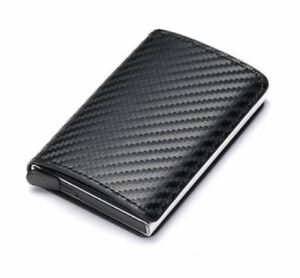Credit Card Holder Wallet Men Women Metal RFID Vintage Aluminum Bag Leather PU