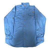 Columbia Button Up Shirt Adult Large Blue Long Sleeve Fishing PFG Mens