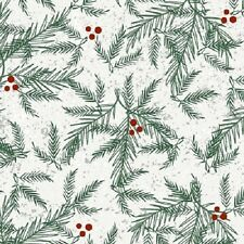 HOLIDAY TRADITIONS WHITE HOLLY CHRISTMAS FABRIC